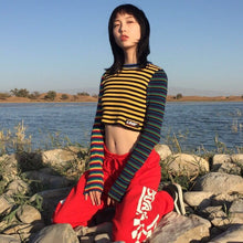 Fashion harajuku vintage punk unif contrast color rainbow striped multicolored cropped knit short pull femme women sweater