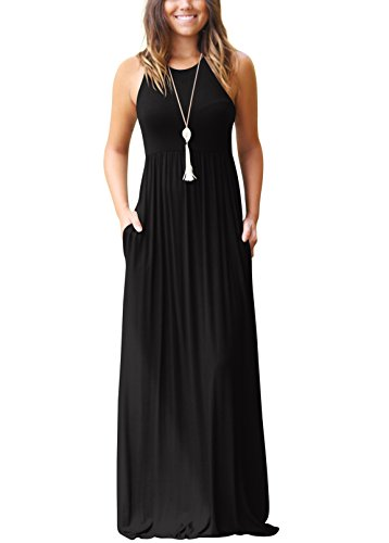 SVALIY Summer Womens Sleeveless Tunic Causal Long Maxi Beach Dresses with Pockets