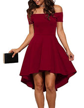 Women Off The Shoulder Short Sleeve High Low Cocktail Skater Dress