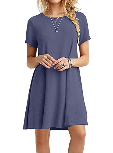 MOLERANI Women's Casual Plain Short Sleeve Simple T-Shirt Loose Dress