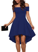 Sarin Mathews Women Off The Shoulder Short Sleeve High Low Cocktail Skater Dress