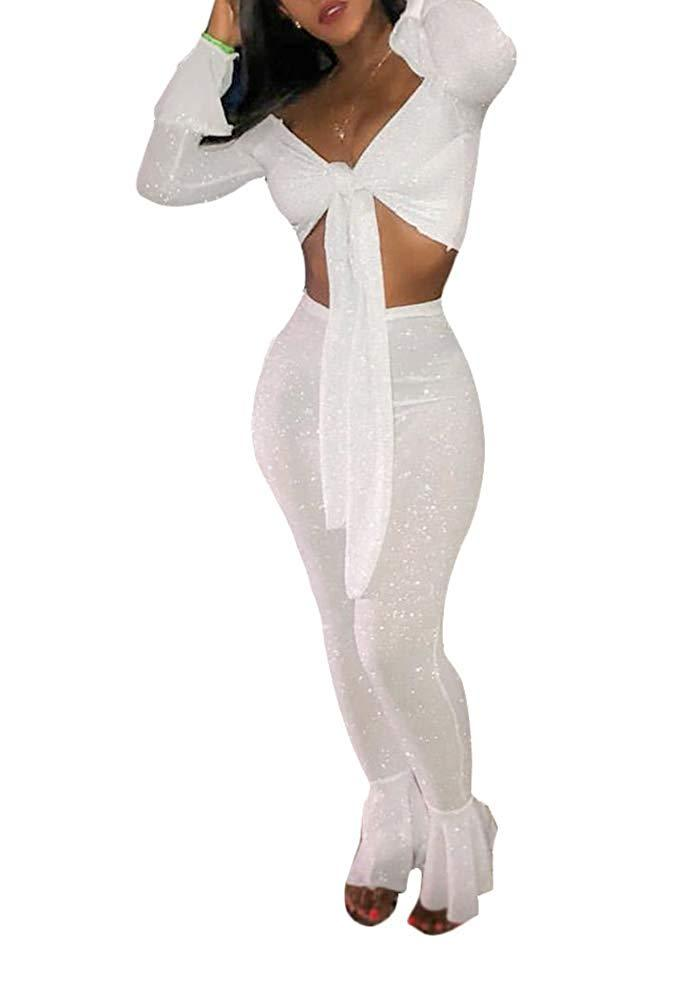 Ophestin Women Off Shoulder Glitter See Through Long Flare Sleeve V Neck Crop Top Pants Set 2 Piece Outfits Jumpsuits