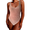 Velvet Bodysuits Woman Pink Crushed Velvet Tank Suit Thong One Piece Bodysuit Thin Body Clothes