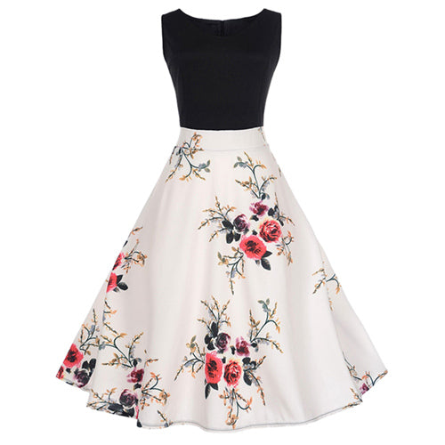 5 pattern floral notes printing vintage dress women o neck sleeveless elegant contrast color patchwork retro dress high waist