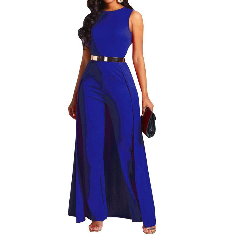VERWIN Patchwork Overlay Embellished Plain Women's Jumpsuit High-Waist Woman Romper