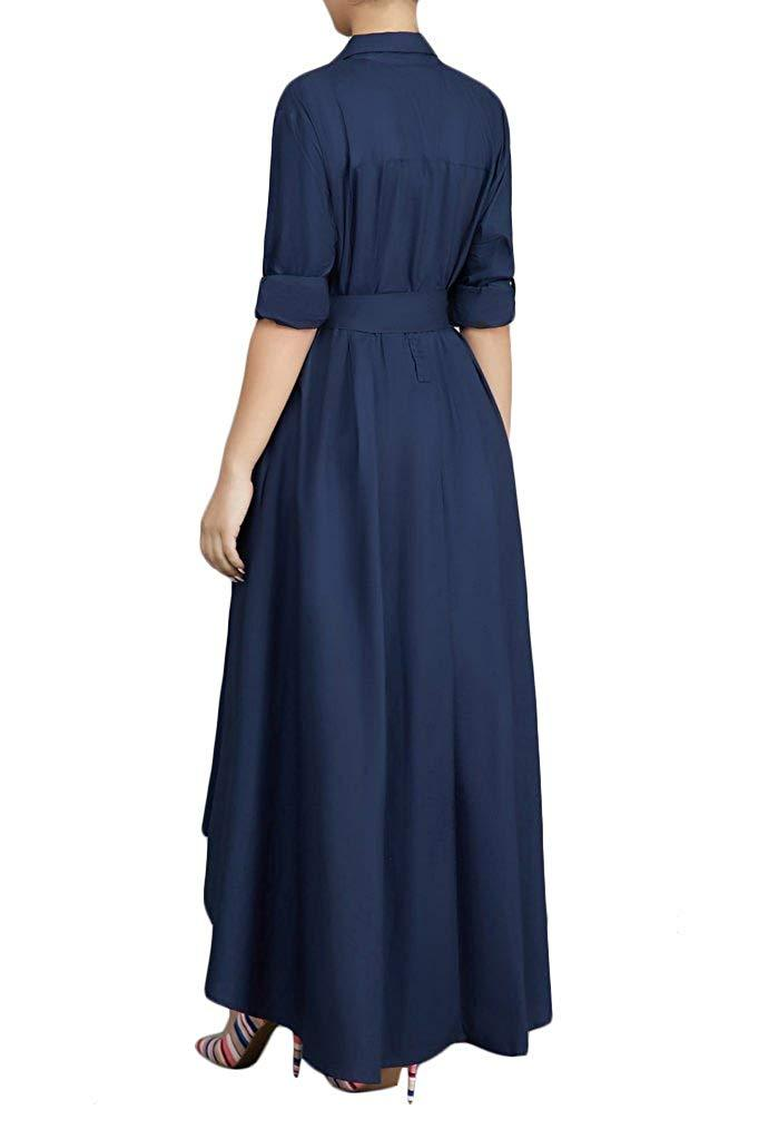 VERWIN Women Long Sleeve Loose Elegant Maxi Dress Button Down Up Shirt Long Dress with Pockets and Belts