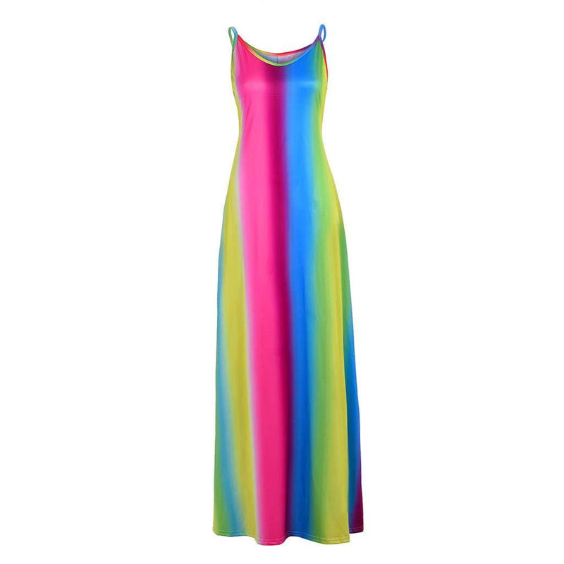 Rainbow Print V Neck Sleeveless Long Dress Women Straps Pockets Boho Maxi Dress