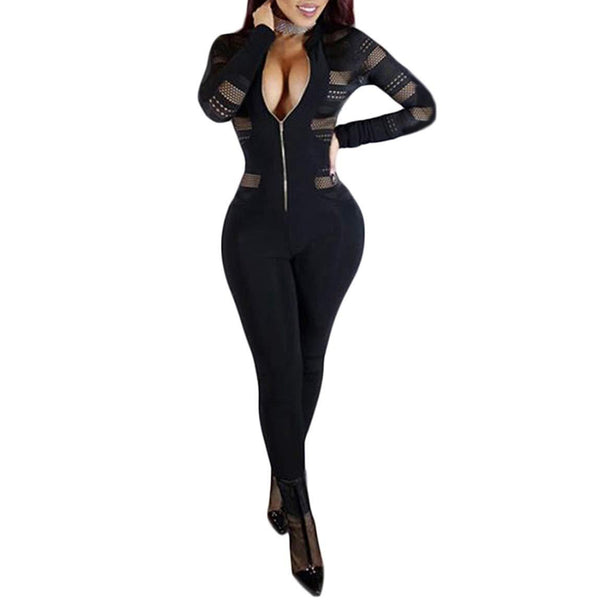 HODMEXI Women Long Sleeve Lace Bandage Jumpsuit Long Romper Zipper Mesh Bodysuit