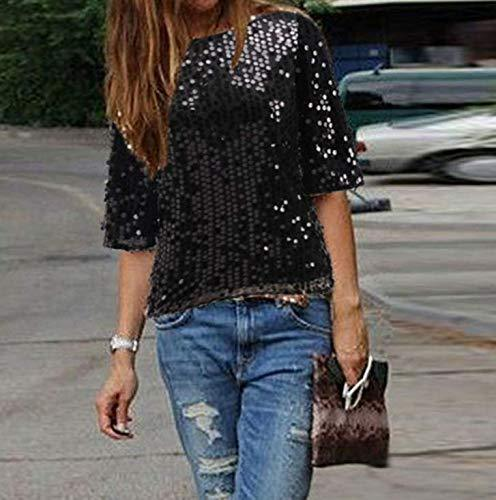 Wpch Fashion Women Gold Sequins Sexy Off Shoulder Short Sleeve Loose Casual Slim T-Shirt Tops Glitter Sparkle T-Shirt Black XXL