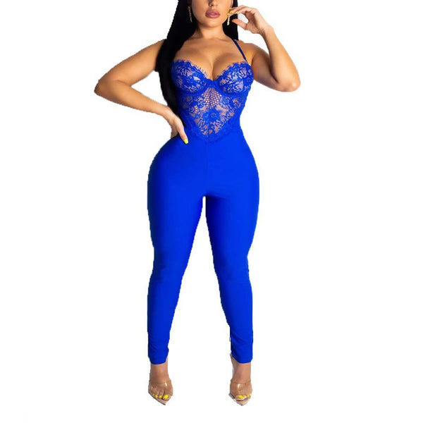 Sleeveless Jumpsuits Sexy Lace Jumpsuits Long Pant Bodysuits Bodycon Jumpsuits one Peice Outfits