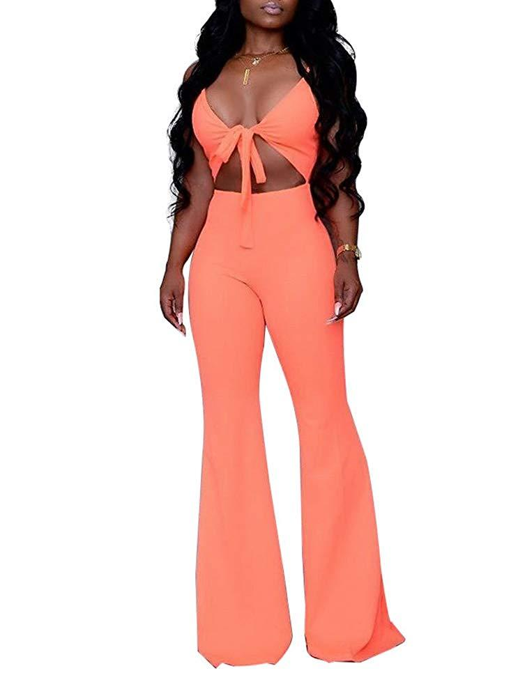 Remelon Womens Sexy Spaghetti Strap V Neck Cut Out Bodycon Bell Flare Pants Club Party One Piece Jumpsuits Rompers