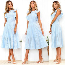 ECOWISH Womens Dresses Elegant Ruffles Cap Sleeves Summer A-Line Midi Dress