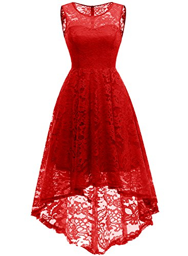 437d8e7d2ce2e MUADRESS Women's Vintage Floral Lace Sleeveless Hi-Lo Cocktail Formal Swing  Dress