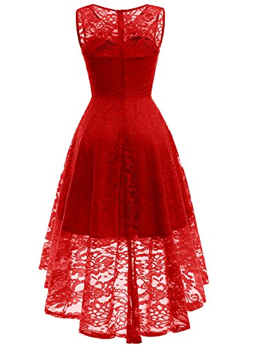 58626d1669fb56 ... MUADRESS Women s Vintage Floral Lace Sleeveless Hi-Lo Cocktail Formal  Swing Dress ...