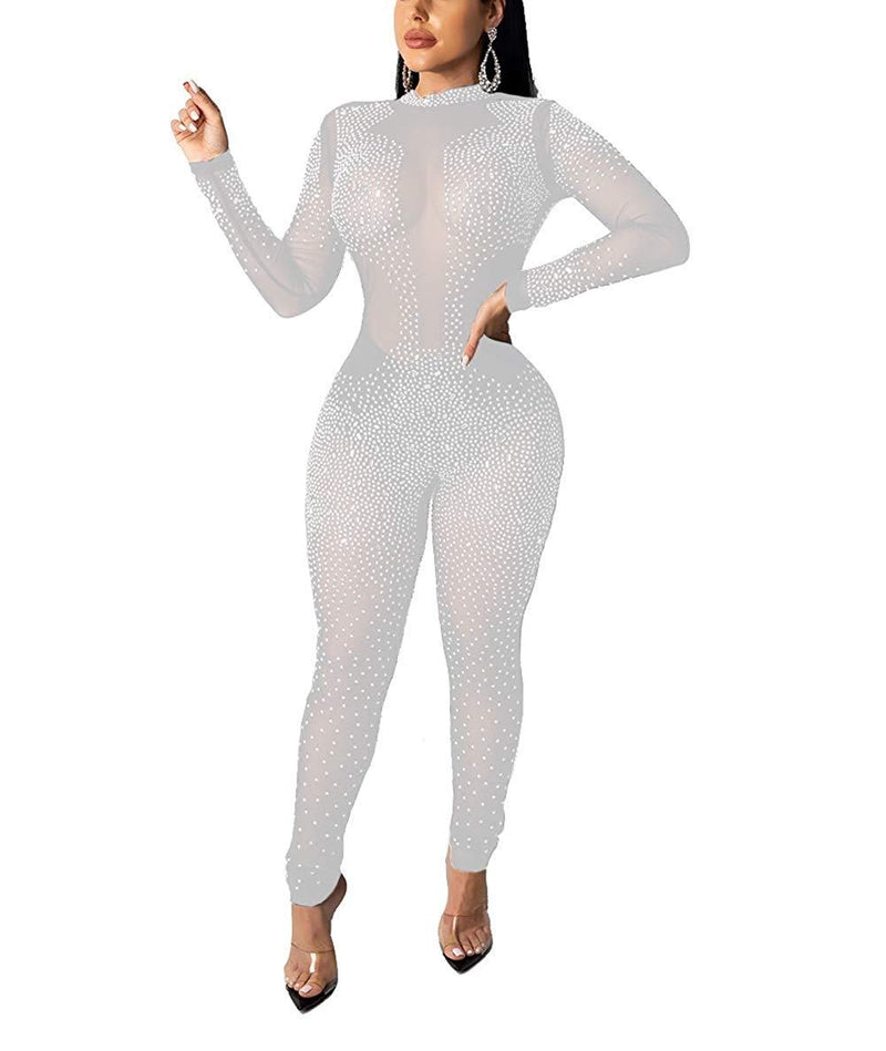 Nhicdns Womens Sexy Rhinestone See Through Jumpsuit Bodycon Halter Neck Backless Romper Club wear