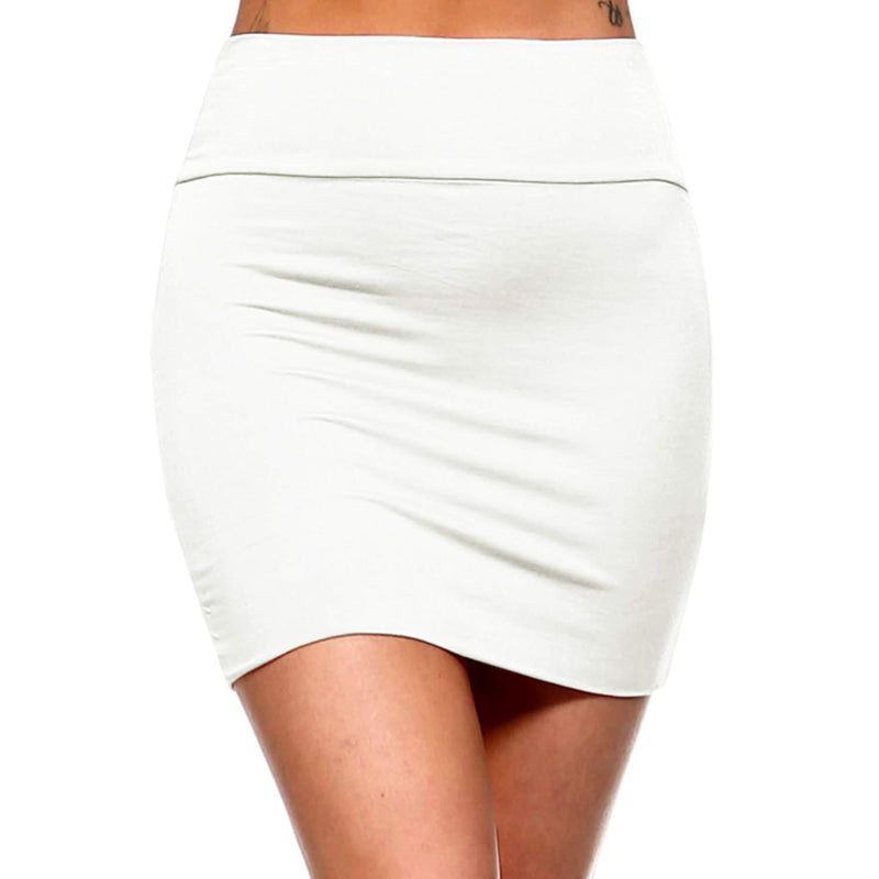 Fashionazzle Women's Casual Rayon Stretchy Bodycon Pencil Mini Skirt