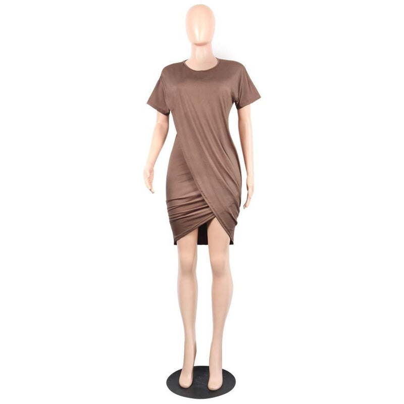 Ophestin Women Short Sleeve Solid Color Bodycon Tight Ruched Wrap T Shirt Mini Short Dress