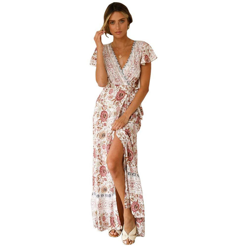 WILLIAM&KATE Women's Summer Bohemian Floral Printed Wrap V Neck Short Sleeve Long Dress for Beach Party Wedding