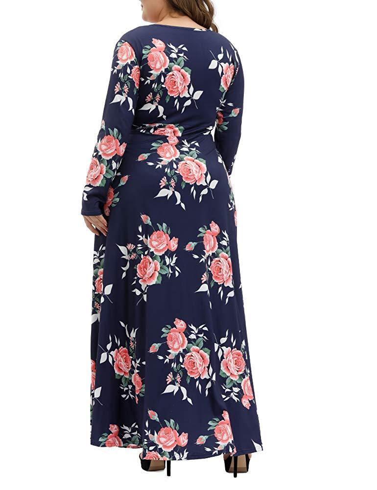 Gboomo Women's Plus Size Dresses Floral Print Long Sleeve Wrap V Neck Cocktail Evening Party Maxi Dress