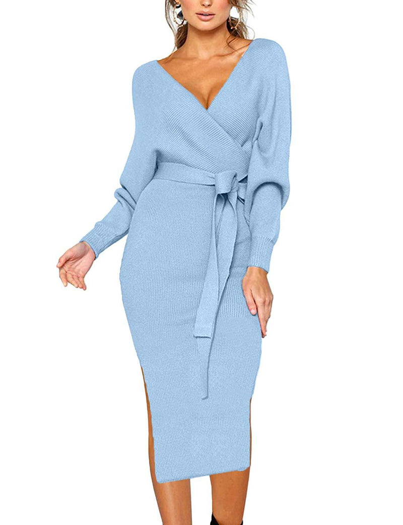 CHERFLY Women's V Neck Spring Fall Dresses Batwing Long Sleeve Backless Bodycon Dress