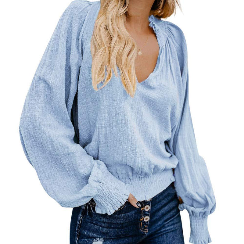 LAMISSCHE Womens Boho Blouse V Neck Crop Top Lantern Long Sleeves Pleated Shirts Peasant Blouse
