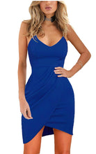 Women's Elegant Spaghetti Straps Deep V Neck Sleeveless Bodycon Party Dress