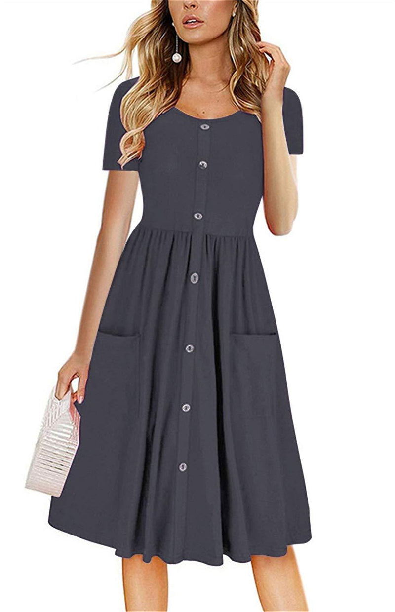 LAMISSCHE Womens Summer Casual Short Sleeve V Neck Button Down A-line Dress with Pockets