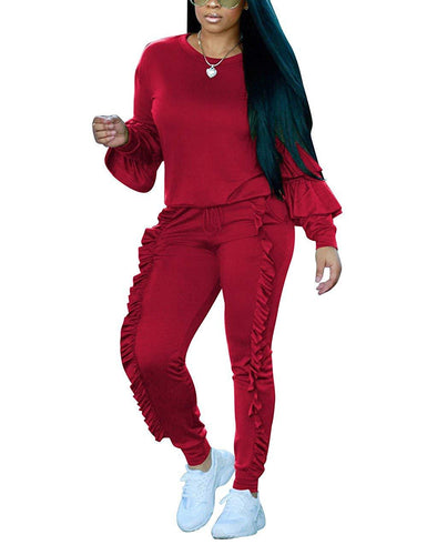 Akmipoem Women's Two Piece Outfits Ruffle Sleeve Sweatshirt and Long Pants Tracksuit