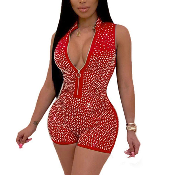 WOOSEN Women's Sleeveless Deep V Neck Zipper Jumpsuit Sequin Rhinestone Bodycon Club Romper