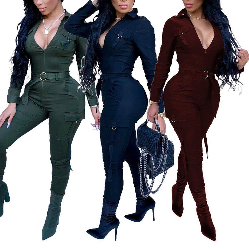 ECHOINE Women's Sexy Zipper V-Neck Bodycon Jumpsuit Stretchy Long Sleeve Rompers