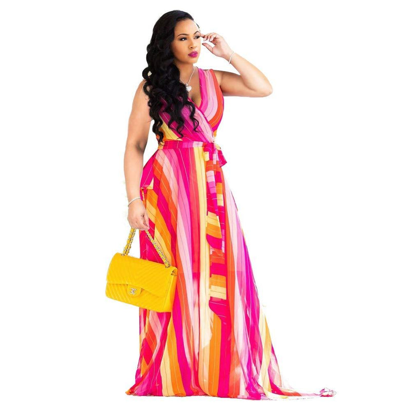 Nuofengkudu Womens Stylish Chiffon V-Neck Printed Floral Maxi Dress with Waisted Belt Plus Size