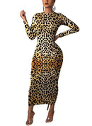 JOSUSY Womens Leopard Print Long Sleeve Crew Neck Cocktail Party Bodycon Maxi Dress