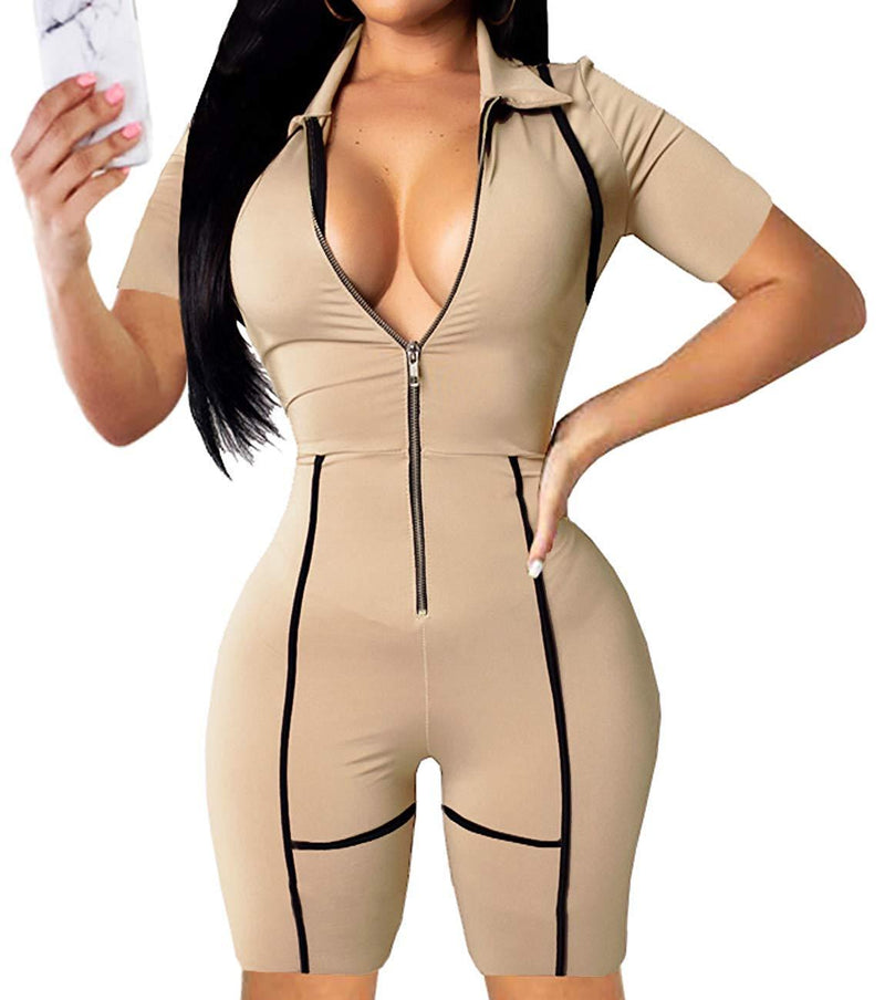 YIQ8 Women's Sexy Deep V Neck Zipper Front Jumpsuits Casual Slim Fit Rompers Stretchy Pants