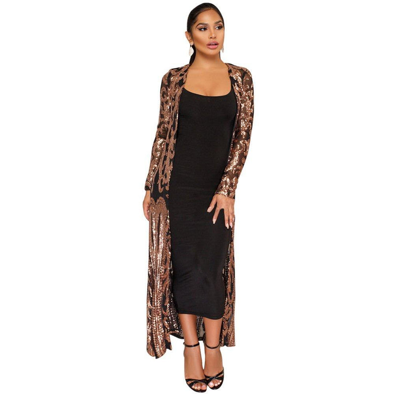 vnytop Women Totem Sequin Applique Long Sleeved Perspective Ankle Length Cardigan Cloak