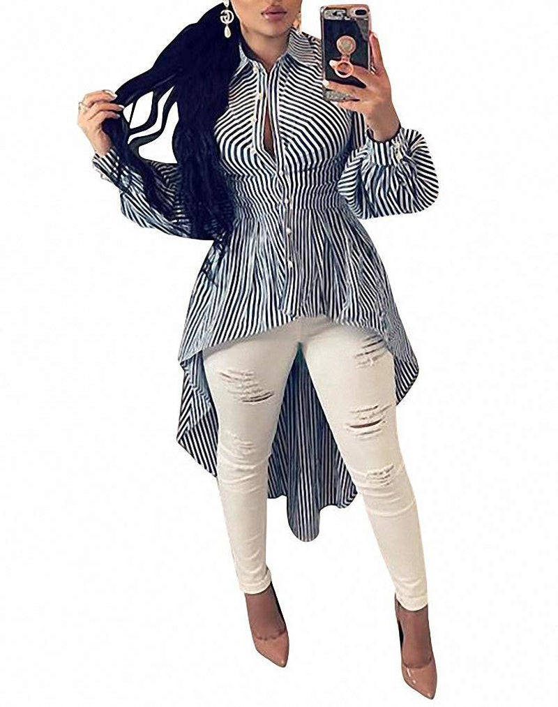 Ophestin Women Stripe Print Long Sleeve Bodycon High Low Asymmetrical Button Down Shirt Blouse Top