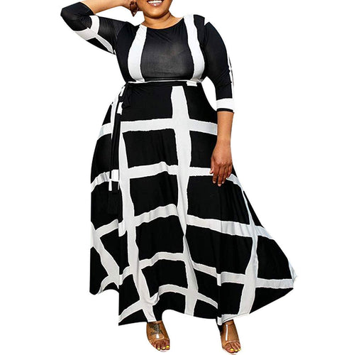 VERWIN Plus Size Floor-Length Print Half Lantern Sleeve Floral Women's Maxi Dress Expansion Dress