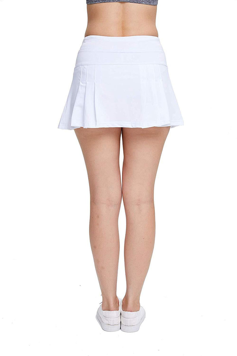 EZ-Joyce Women's Pleated Athletic Skort Tennis&Golf Active Skirt with Pockets Built in Shorts