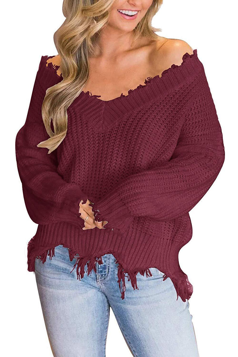 LAMISSCHE Womens Loose Knitted Off The Shoulder Sweater Solid V Neck Long Sleeve Pullover Ripped Crop Top
