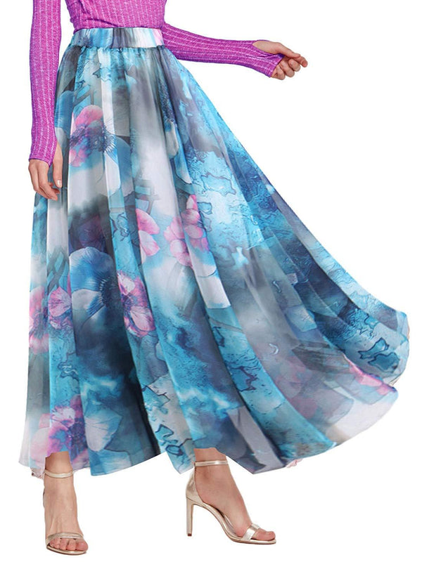 Amormio  Women's Stylish Floral Print Chiffon Lined Ankle-Length Boho Full Long Maxi Holiday Skirts