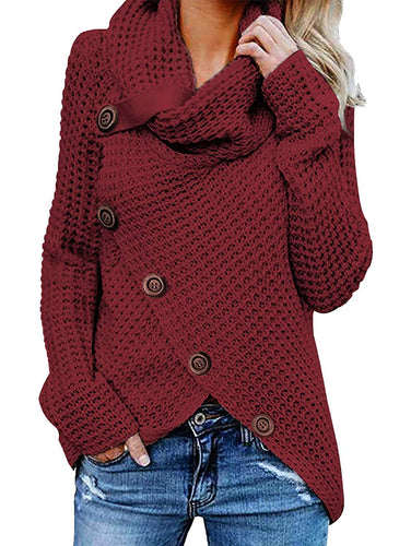 TEMOFON Women's Casual Turtle Cowl Neck Sweater Long Sleeve Button Asymmetric Hem Wrap Pullover Sweaters Tops S-2XL