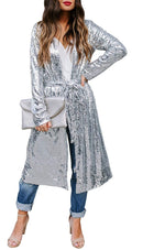 Women's Autumn Cover Up Long Sleeve Sequins Loose Open Front Cardigan Coat Dress