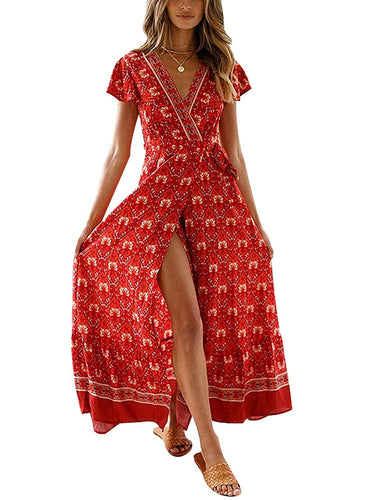Temofon Women's Dresses Bohemian Floral Printed Summer Casual Short Sleeve Wrap V-Neck High Split Ethnic Maxi Dress