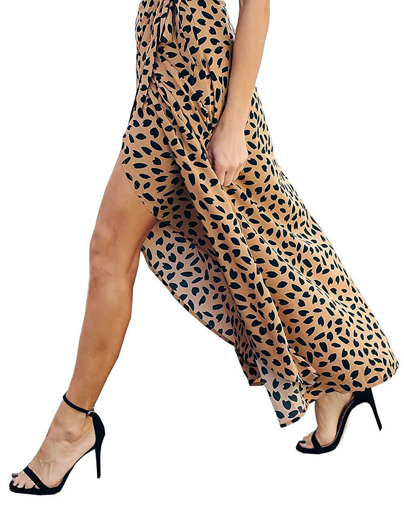 Y&YUAN Women Leopard Print Maxi Skirt High Waist Long Skirt