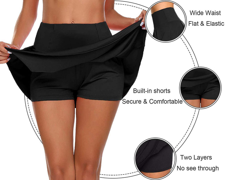 UMINA Women's Active Skort Athletic Stretchy Pleated Tennis Skirt for Running Golf Workout
