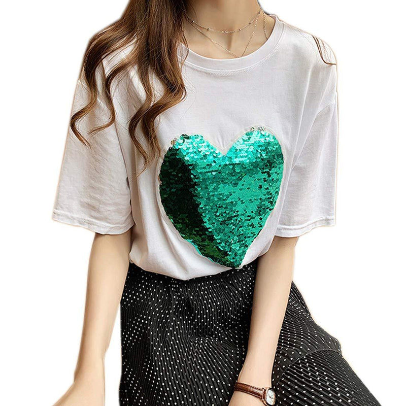 Multift Women's Sparkling Shiny Sequins Tunic Top Casual Loose T Shirt Blouse