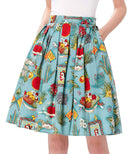 GRACE KARIN Women Pleated Vintage Skirts Floral Print CL6294 (Multi-Colored)