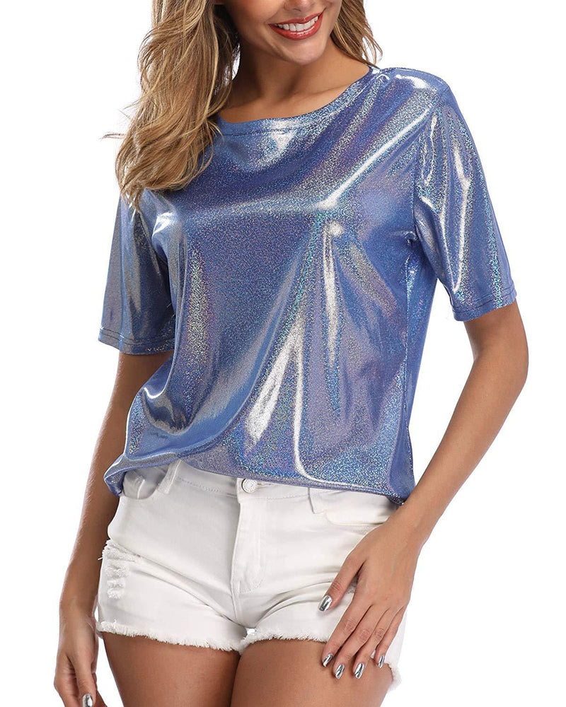 andy & natalie Women's Shiny Tops Holographic Metallic Shirt Shimmer Glitter Sparkle Party Disco Tee Shirt Blouse