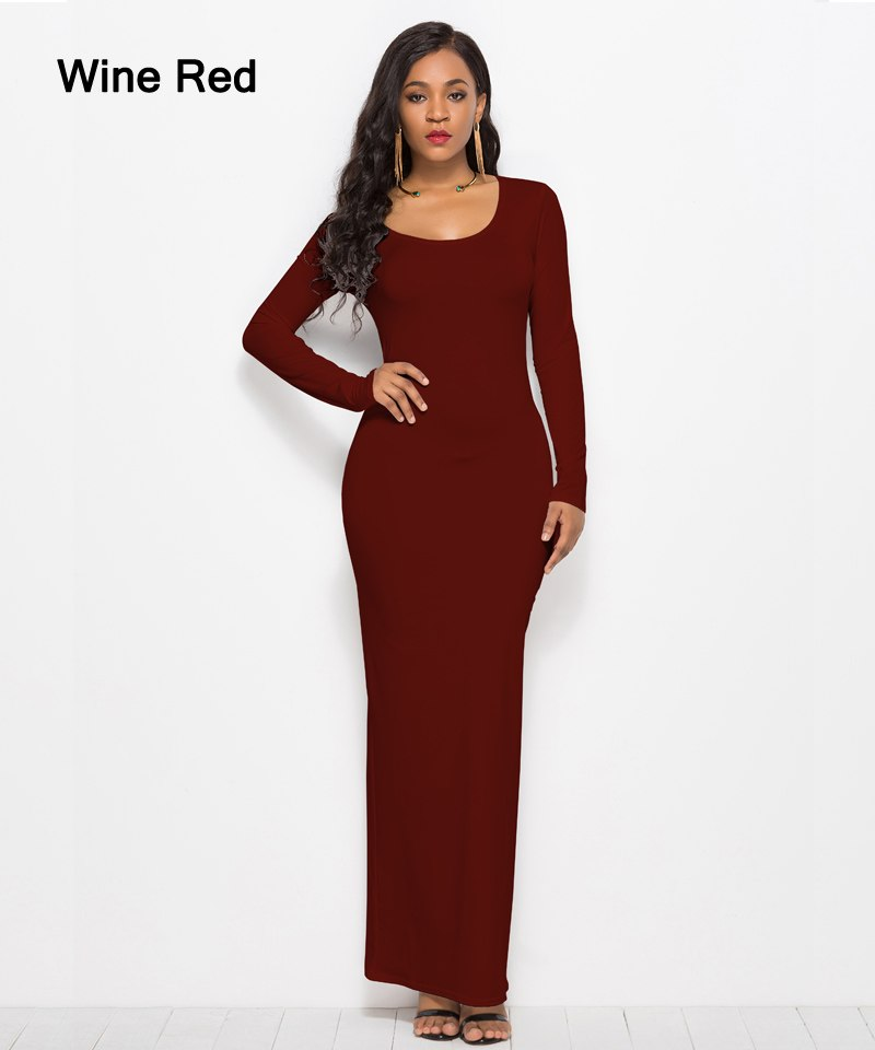 Autumn Casual Bodycon Elastic Women Dresses Elegant Slim Straight Long Sleeve Maxi Dress Plus Size