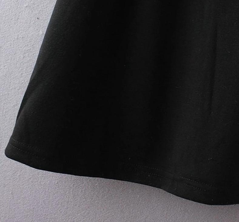 Black dress with white collar school girl black long sleeve dress