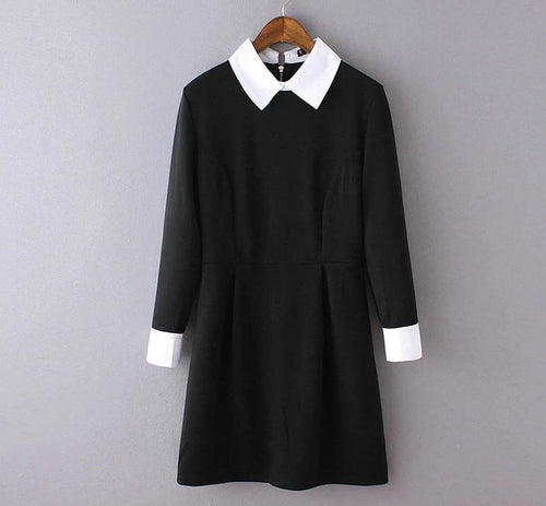 Black dress with white collar school girl black long sleeve dress  FF1051